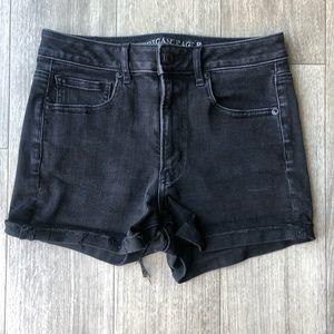 American Eagle Super High Rise Black Jean Shorts